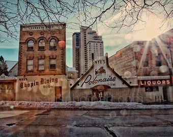 Nyes, Minneapolis,  fine art photo, wall art, home decor, Minnesota art, office art, HDR photo, MN landmark, architecture, digital art, blue