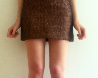 Metallic copper chunky mini skirt (sx /s)