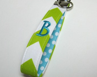 Personalized Soft Chevron Key Fob, Fabric Key Chain - Design Your Own