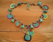 multicolored crochet necklace, turquoise, red coral