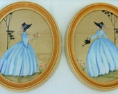 """PAIR-Mid-Century """"Southern Belle-Garden Ladies"""" Paintings-Hand-Painted Signed-Glass & Wood Frame"""