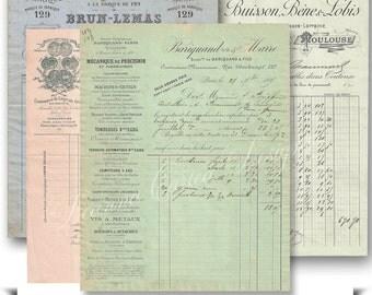 Paris Antique Receipts Ephemera instant download Digital scrapbooking