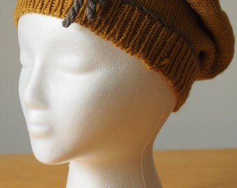 Knit Hat and Mitten Set - Mustard Yellow with Gray details