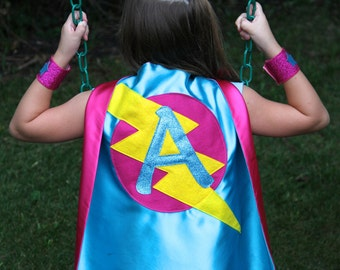 Free mask sale - GIRLS Superhero Personalized with your childs initial - CUSTOMIZED Cape - Personalized girl birthday gift - Kid gift