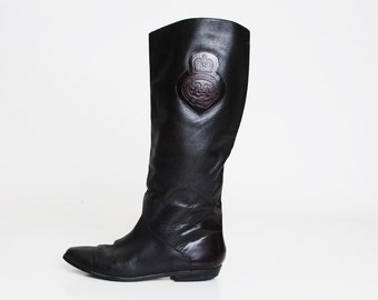 Vintage 90s Tall Crest RIDING BOOTS / 1990s Black Leather Riding Boots 9.5