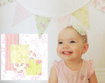 Garland Banner, Bunting, Fabric Pennant Flags, Baby Shower Banner, Birthday Garland, Pink, Mint, Wedding Decor, Photo Prop, Nursery Decor