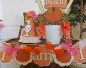 Girls Little Pumpkin  Ultimate Birthday Party Package fall birthday decorations, thanksgiving birthday,banner, centerpiece, invitations