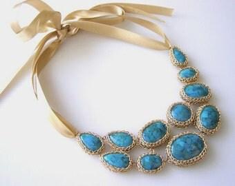 Turquoise Statement Necklace, Wedding Statement Necklace, Bib Statement Necklace,  Turquoise Bib Necklace, Gold Turquoise Necklace
