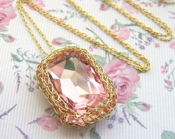 Pink Swarovski  Necklace,  Pink Crystal Pendant, Pink Bridesmaid Necklace, Hot Pink Necklace, Rectangle Necklace, Pink Crystal Necklace