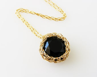 Black Necklace Swarovski , Gold pendant necklace, Wire Crochet Jewelry, Swarovski crystal necklace black