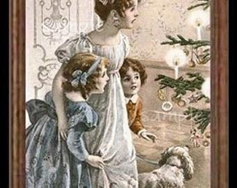 Vintage Christmas Joy Miniature Dollhouse Art Picture