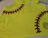 Softball Tank or Tee--Glitter and bling laces design--Bright neon yellow tee or tank