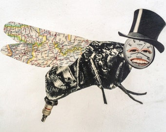 Mister Fly - Original Collage