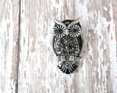 sale SALE sale NIGHT owl Vintage Owl Brooch with Rhinestones (silver)