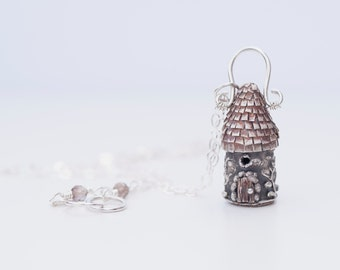Micro Fairy House Necklace (Hand Sculpted Original in Sterling Silver)