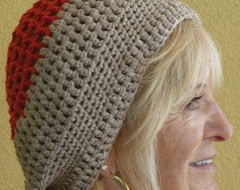 Women Fashion / Bohemian Accessories / Orange and Beige Crochet Hat / Original Unique Women Winter Clothing