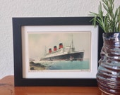 Queen Mary - framed vintage postcard