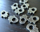 Destash (10) Hamsa Hand Bead Charms - for pendants, jewelry making, crafts, scrapbooking