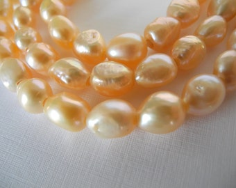 Large Hole Nugget Pearls Freshwater Baroque Peach  9mm 10mm 23 Pieces