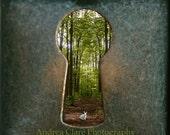 Alice in Wonderland, Fine Art Photograph, Whimsical, Photo, Print, White Rabbit, Key Hole, Forrest, Trees, disney,  nature, green, Surreal