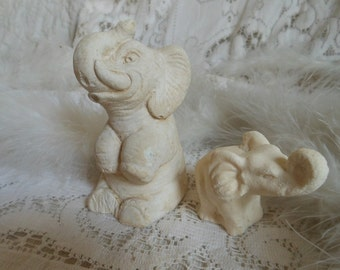 White Elephant Chalk Figures Shabby Vintage  By Quilted Nest