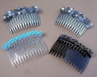Vintage hair combs 4 beaded hair pin hair accessory hair pick hair barrette hair slide hair jewelry hair ornament headdress1980s