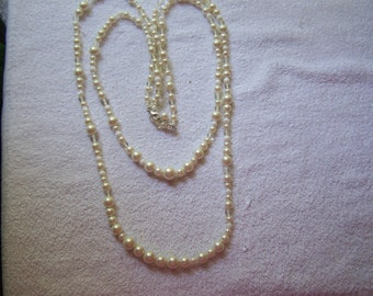 Extra Long Double Strand Milk Glass Clear and Pearl Necklace