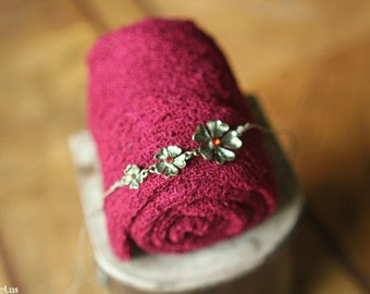 Christmas Baby Headband and Baby Wrap Set- Wrap in Dark Red, Rhinestone Flower Headband, Christmas Set, Wrap Scarf, Great for Photo Prop