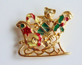 Festive Christmas SLEIGH PIN brooch SFJ signed and numbered vintage 1960s
