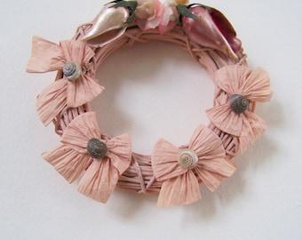 Beach Decor Mini Wreath - Nautical Decor - Natural Seashells,Grapevine & Raffia - Handmade Original - Pastel Pink/Salmon - Home Decor