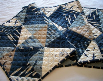 Nautical Table Runner Beach House Navy Blue Denim Blue Quilted Handmade