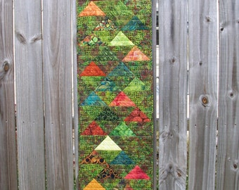 Batik Table Runner Green Volcano Quilted Triangles Wall Hanging Quiltsy Handmade FREE U.S. Shipping