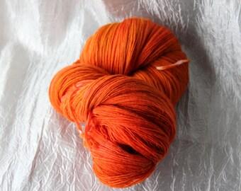 Hand Dyed Uruguayan Merino Lace Yarn Sockeye Salmon 100G, 950 yards