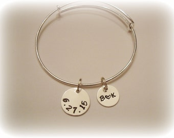 Sterling Silver Discs on Adjustable Silver Plated or Stainless Steel Wire Bangle