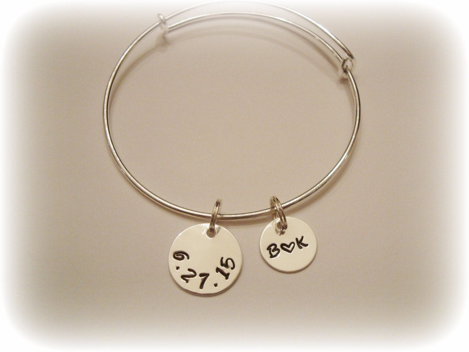 Sterling Silver Discs on Adjustable Silver Plated Wire Bangle