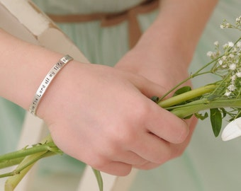 Girls Cuff Bracelet, hand stamped sterling silver, bracelets, pastel flower girl gift, birthday, little girl, personalized ANNA MARGUERITE