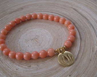 Coral bracelet with Goldfill Lotus Flower charm, Genuine Coral Bead Mala Jewelry, 14K Goldfill Modern Lotus Charm