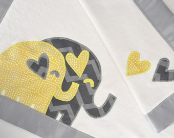 Organic Baby Blanket with Elephants -- Grey and Yellow -- Baby's Name Added Free