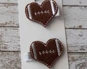 SALE Football Heart Felt Hair Clip Set