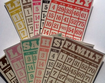 CIJ SALE Chipboard Bingo Cards // Vintage Collector Style 10pcs