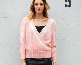 Pastels pink deep V wrap sweater with angora 1980s 80s VINTAGE