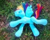 Rainbow Dash inspired snuggle baby plush pony RTS