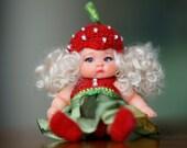 OOAK Fairy Baby Child Strawberry doll Mini Doll Tiny Doll Repaint Custom Tiny Fairy  Doll