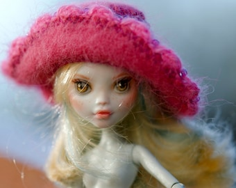 OOAK Monster High Repaint  Angora rabbit  Beads Hat Outfit Dollfie BJD MH Hat