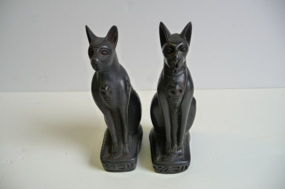 Two Vintage Cat Bastet Egyptian Statue Ebony Hieroglyphics
