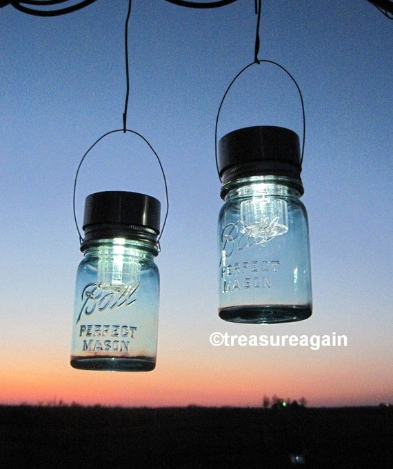 Eco Accent Lights 2 Outdoor LED Lights Hanging Antique Ball Mason Jar Solar Lanterns Pint Size for Eco Weddings, Garden, Patio, Yard