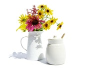 WHITE Ceramic Honey Pot & Dipper