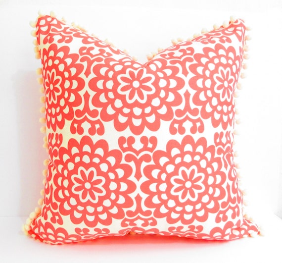 Shabby style Coral white pillow cover, pom pom pillows, flowers floral cushion cover, romantic peasant boho preppy bedroom decor, decoration