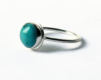 Silver turquoise ring, stone ring, sterling silver ring, stacking gemstone ring, turquoise jewelry