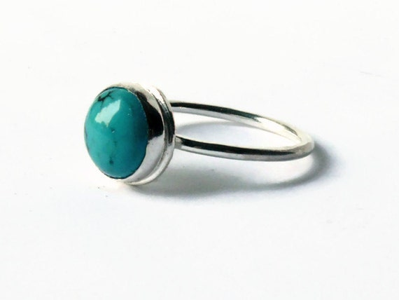 Turquoise ring stone ring sterling silver stacking gemstone ring sterling gemstone stackable rings